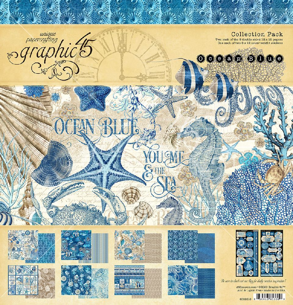 Graphic 45 Ocean Blue Collection Embellishments Die-Cut Cardstock
