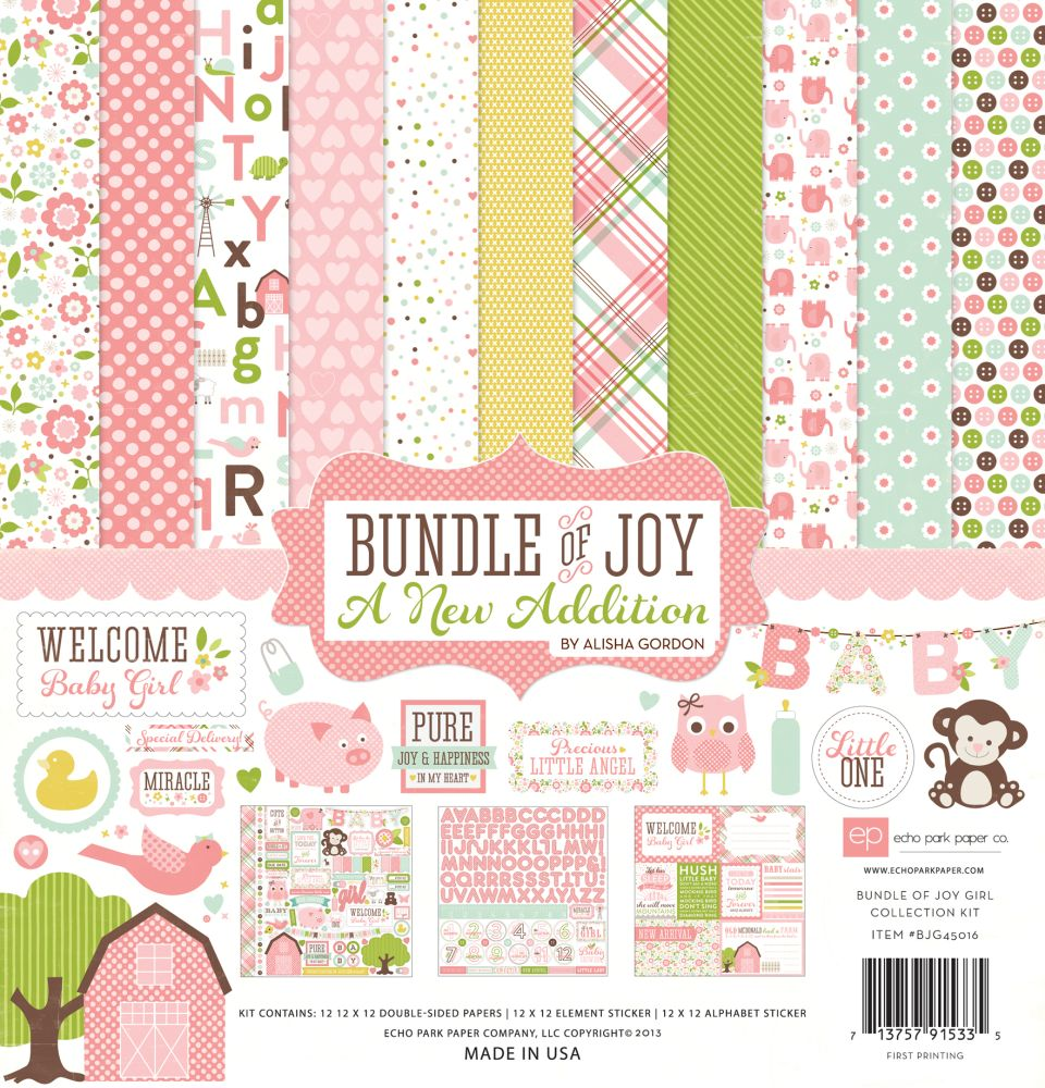 Scrapbook paper echo park - Bundle Of Joy 2 Girl 12x12 Collection Kit By Echo Park For Scrapbooks Cards Crafting