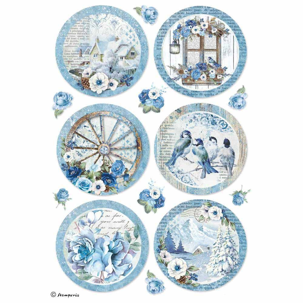Stamperia A4 Decoupage Rice Paper Packed Winter Botanic Spheres