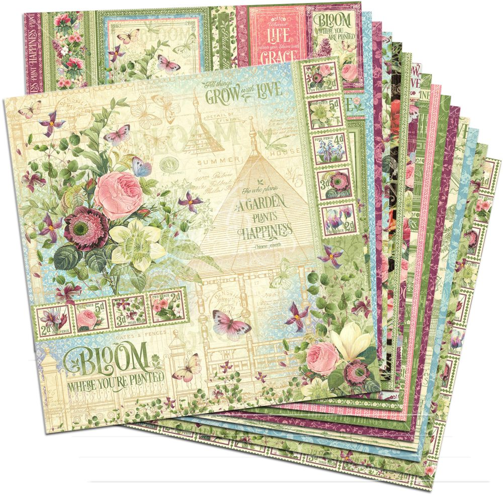 37264cac87 Bloom 12x12 Paper Pack (16 sheets) by Graphic 45 for Scrapbooks ...