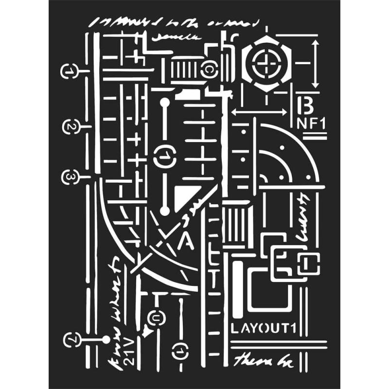 Mixed Media Stencil Stamperia Circuit Board Microchip