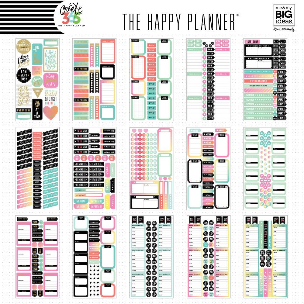 Create 365 the happy planner sticker value pack for Happy planner accessories