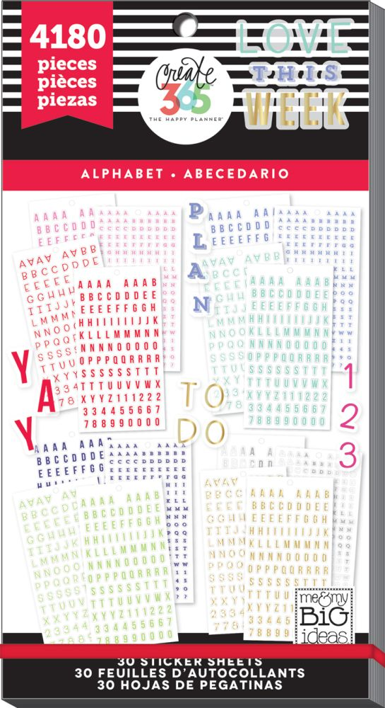 Create 365 the happy planner sticker value pack alpha by for Me my big ideas planner