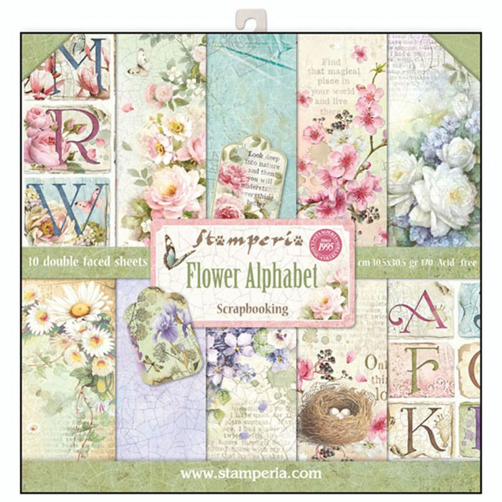 12x12 paper pad flower alphabet 10 double sided sheets. Black Bedroom Furniture Sets. Home Design Ideas