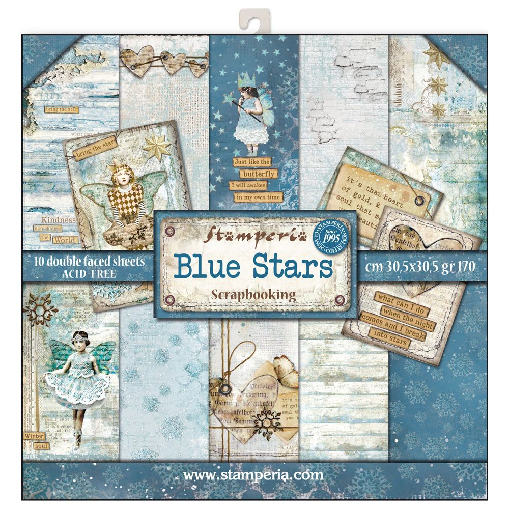 12x12 paper pad blue stars 10 double sided sheets by stamperia for scrapbooks cards crafting. Black Bedroom Furniture Sets. Home Design Ideas