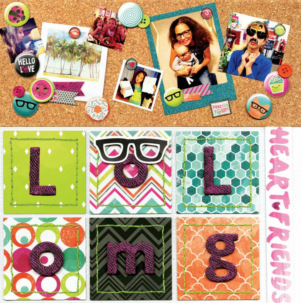 BoBunny 12x12 scrapbooking paper Forever Young collection Heart 2 sheets