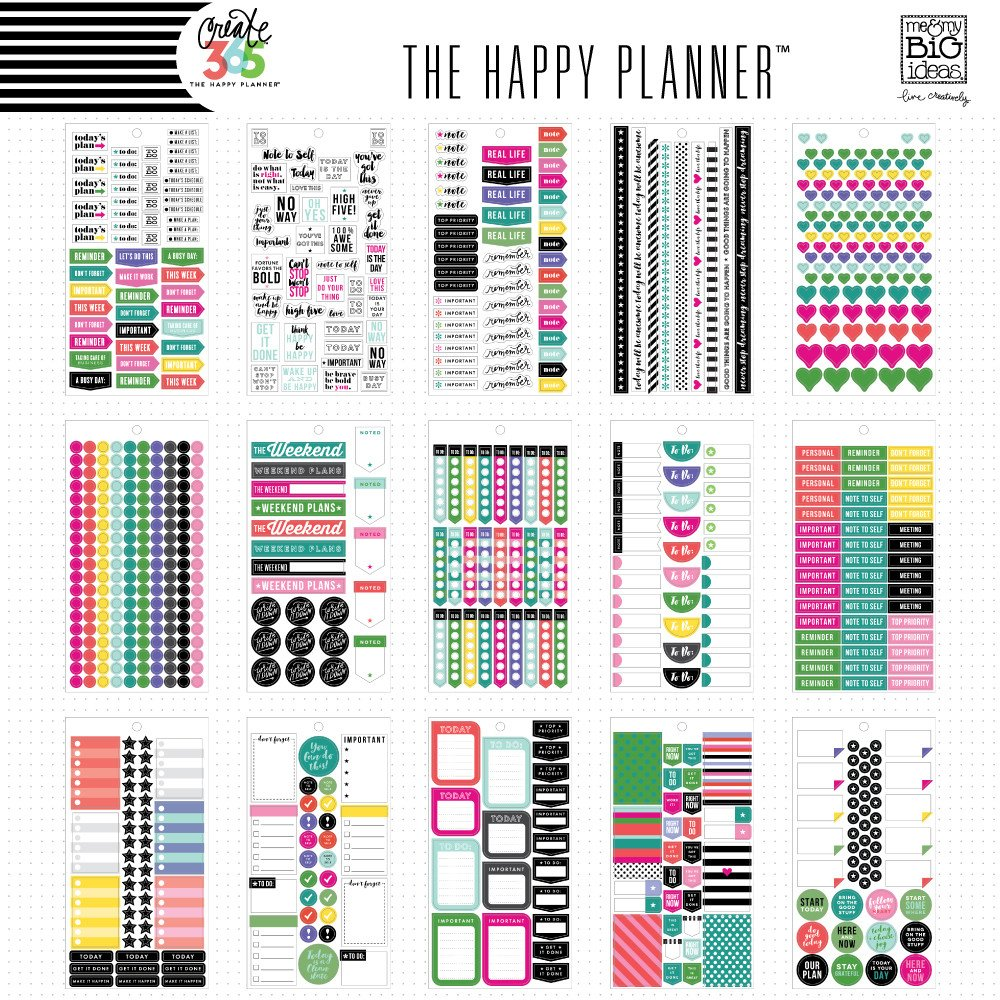 Create 365 the happy planner sticker value pack everyday plans by me my big ideas for planners bullet journals scrapbooks cards and crafting