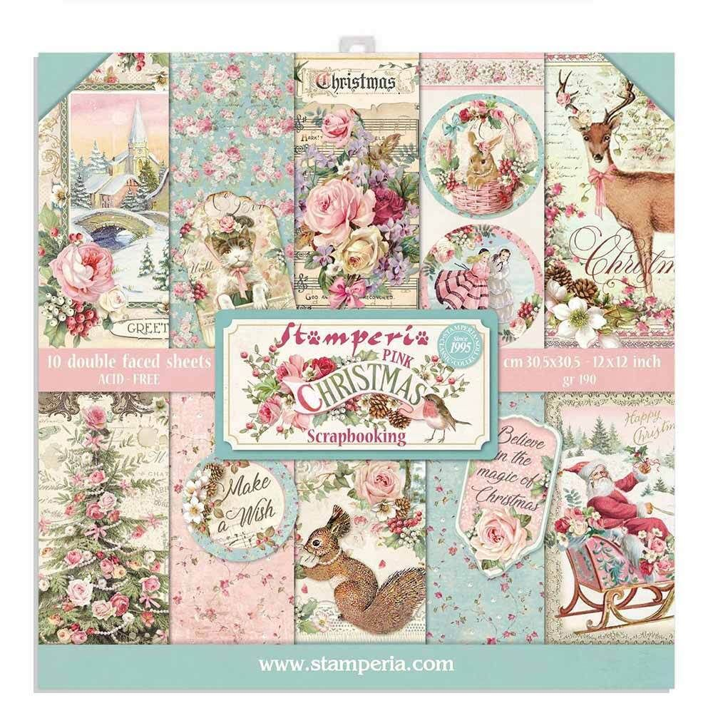 stamperia 12x12 paper pad  pink christmas 2020 10 double